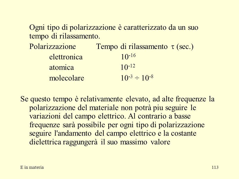 E in materia113 Ogni tipo di polarizzazione è caratterizzato da un suo tempo di rilassamento. Polarizzazione Tempo di rilassamento (sec.) elettronica