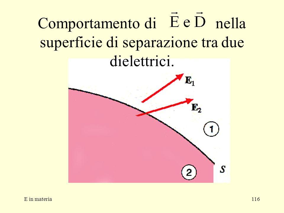 E in materia116 Comportamento di nella superficie di separazione tra due dielettrici.