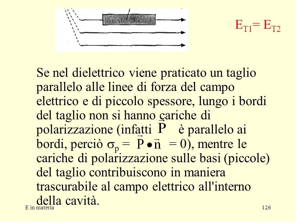 E in materia126 Se nel dielettrico viene praticato un taglio parallelo alle linee di forza del campo elettrico e di piccolo spessore, lungo i bordi de