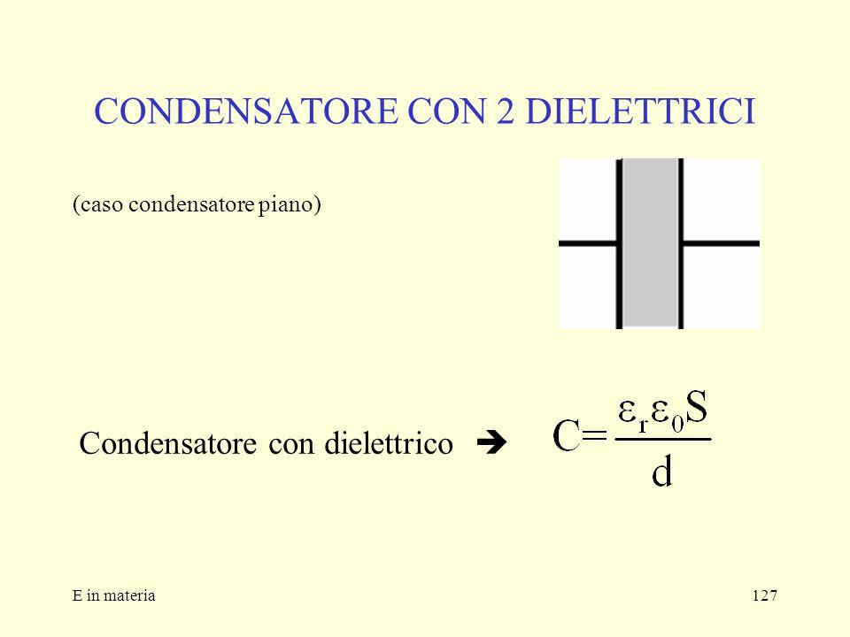 E in materia127 CONDENSATORE CON 2 DIELETTRICI (caso condensatore piano) Condensatore con dielettrico