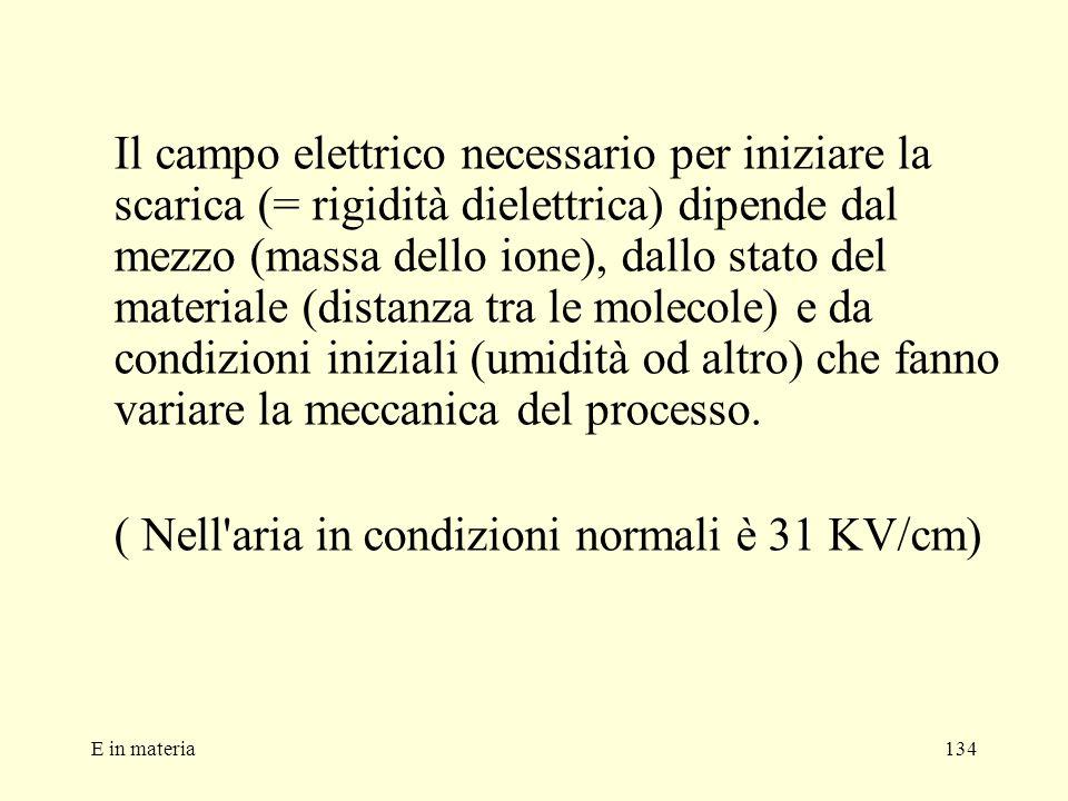E in materia134 Il campo elettrico necessario per iniziare la scarica (= rigidità dielettrica) dipende dal mezzo (massa dello ione), dallo stato del m