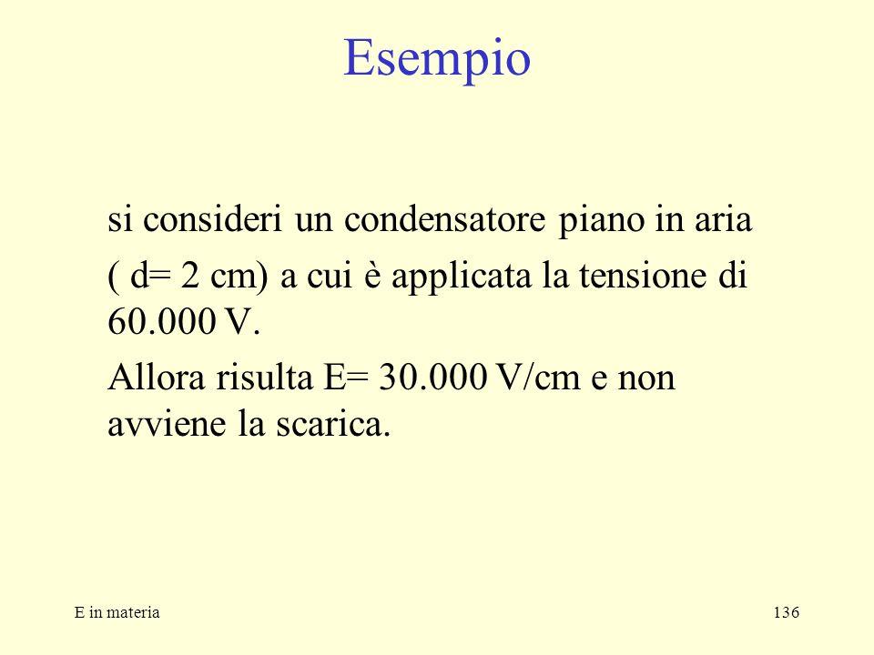 E in materia136 Esempio si consideri un condensatore piano in aria ( d= 2 cm) a cui è applicata la tensione di 60.000 V. Allora risulta E= 30.000 V/cm