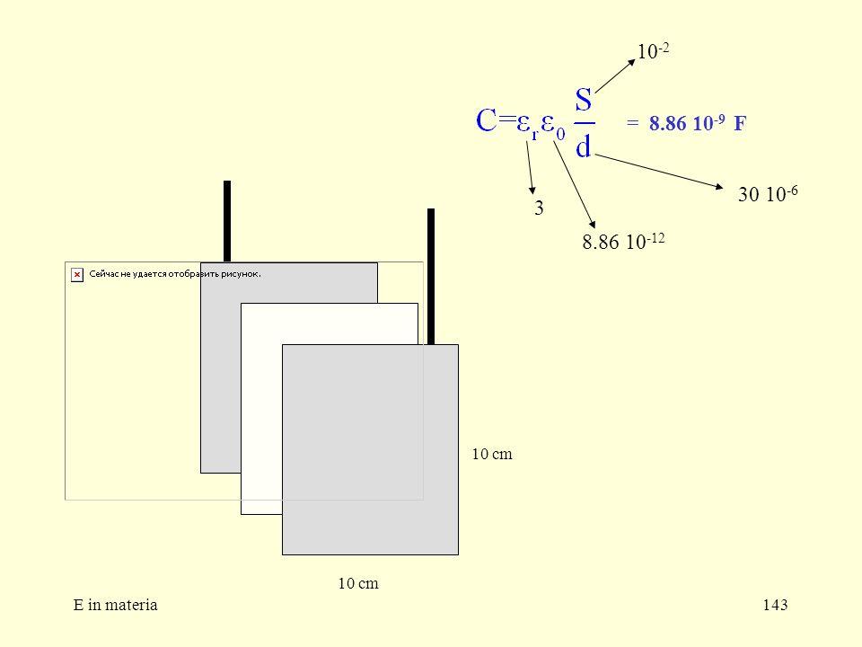 E in materia143 10 cm 3 8.86 10 -12 10 -2 30 10 -6 = 8.86 10 -9 F