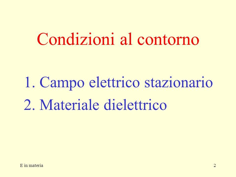 2 Condizioni al contorno 1.Campo elettrico stazionario 2.Materiale dielettrico