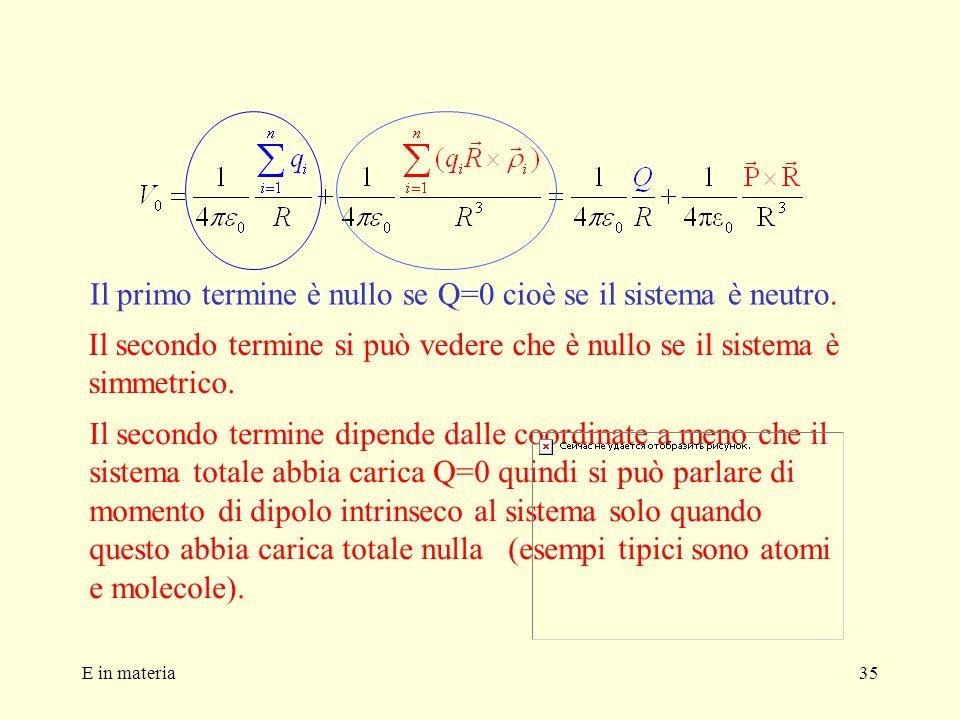 E in materia35 Il primo termine è nullo se Q=0 cioè se il sistema è neutro. Il secondo termine si può vedere che è nullo se il sistema è simmetrico. I