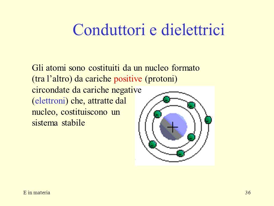 E in materia36 Conduttori e dielettrici Gli atomi sono costituiti da un nucleo formato (tra laltro) da cariche positive (protoni) circondate da carich