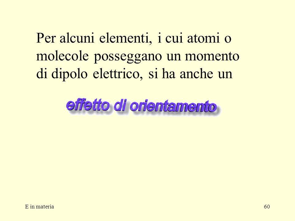 E in materia60 Per alcuni elementi, i cui atomi o molecole posseggano un momento di dipolo elettrico, si ha anche un
