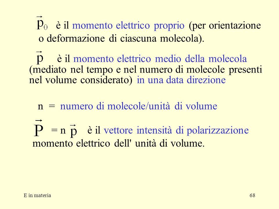 E in materia68 è il momento elettrico proprio (per orientazione o deformazione di ciascuna molecola). è il momento elettrico medio della molecola (med