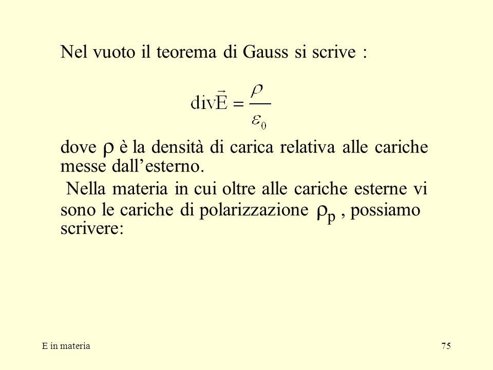 E in materia75 Nel vuoto il teorema di Gauss si scrive : dove è la densità di carica relativa alle cariche messe dallesterno. Nella materia in cui olt