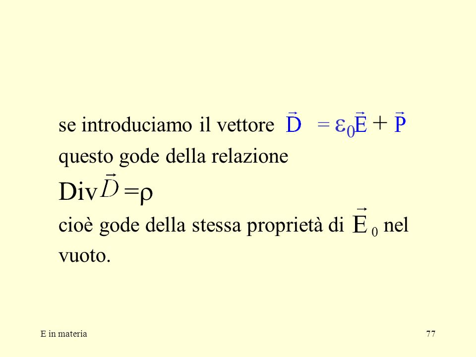 E in materia77 se introduciamo il vettore = 0 + questo gode della relazione Div = cioè gode della stessa proprietà di 0 nel vuoto.