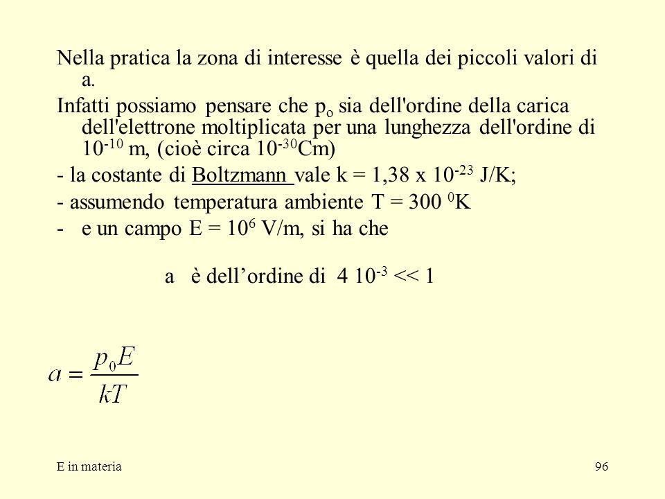 E in materia96 Nella pratica la zona di interesse è quella dei piccoli valori di a. Infatti possiamo pensare che p o sia dell'ordine della carica dell