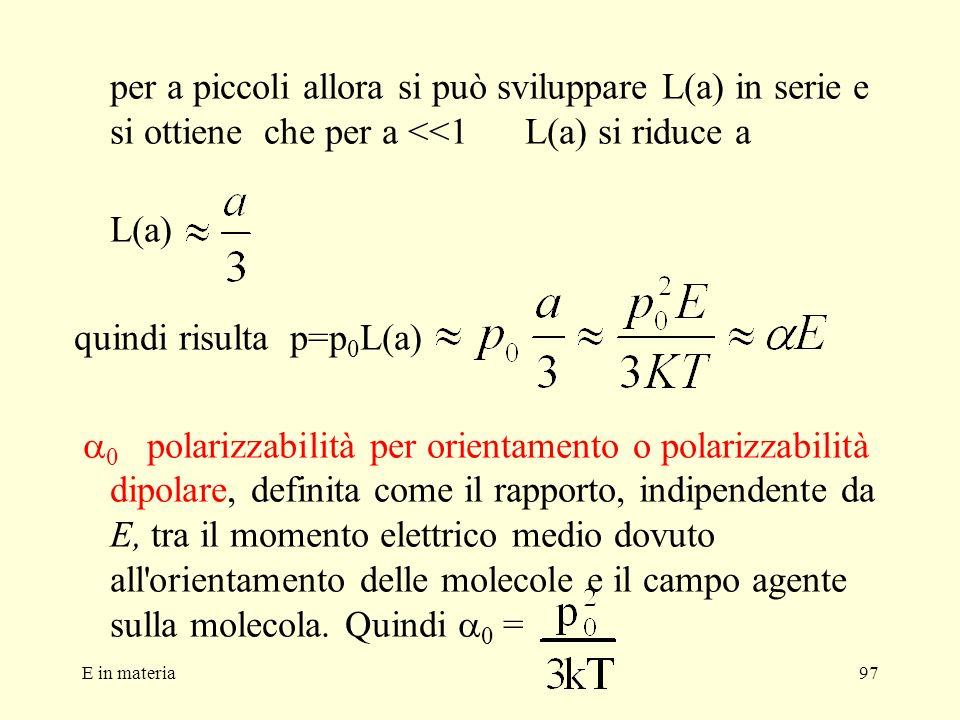 E in materia97 per a piccoli allora si può sviluppare L(a) in serie e si ottiene che per a <<1 L(a) si riduce a L(a) quindi risulta p=p 0 L(a) 0 polar