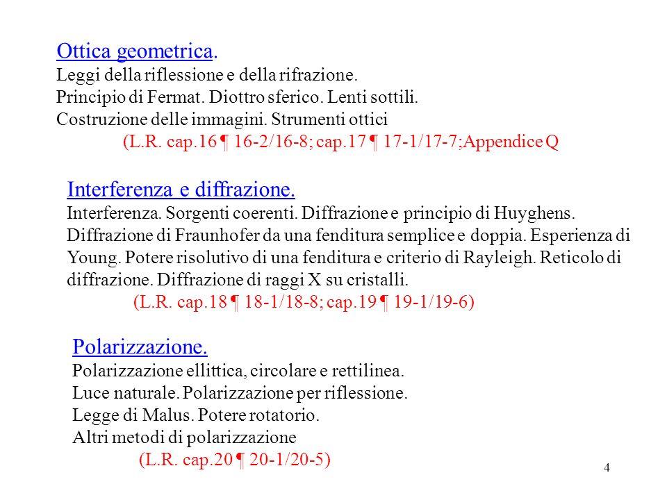 4 Ottica geometrica. Leggi della riflessione e della rifrazione. Principio di Fermat. Diottro sferico. Lenti sottili. Costruzione delle immagini. Stru