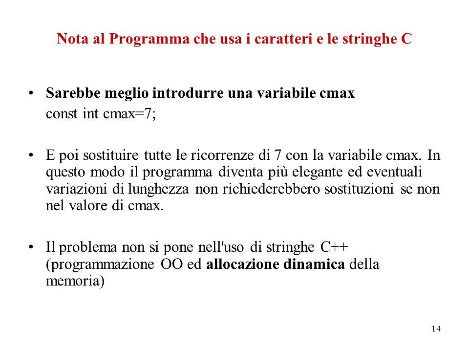 14 Nota al Programma che usa i caratteri e le stringhe C Sarebbe meglio introdurre una variabile cmax const int cmax=7; E poi sostituire tutte le ricorrenze di 7 con la variabile cmax.