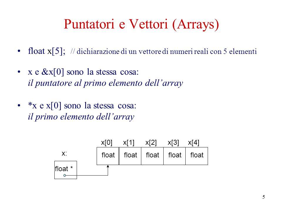 6 Aritmetica dei puntatori float x[5]; float *y=&x[0]; // y è un puntatore a x[0] float *z=x; // z è un puntatore a x[0] (y+1) punta a x[1] *(y+1), y[1] e x[1] accedono lo stesso oggetto sono consentite operazioni di somma e sottrazione ed è possibile confrontare tra loro due puntatori (si confrontano gli indirizzi di memoria, che sono numeri interi)