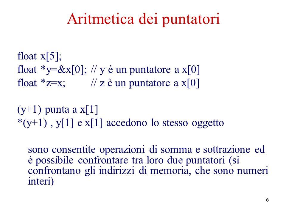 6 Aritmetica dei puntatori float x[5]; float *y=&x[0]; // y è un puntatore a x[0] float *z=x; // z è un puntatore a x[0] (y+1) punta a x[1] *(y+1), y[