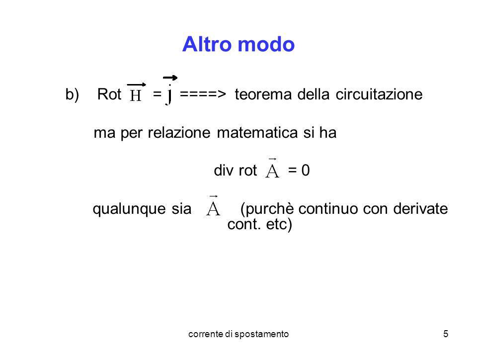 corrente di spostamento5 Altro modo b)Rot = ====> teorema della circuitazione ma per relazione matematica si ha div rot = 0 qualunque sia (purchè cont