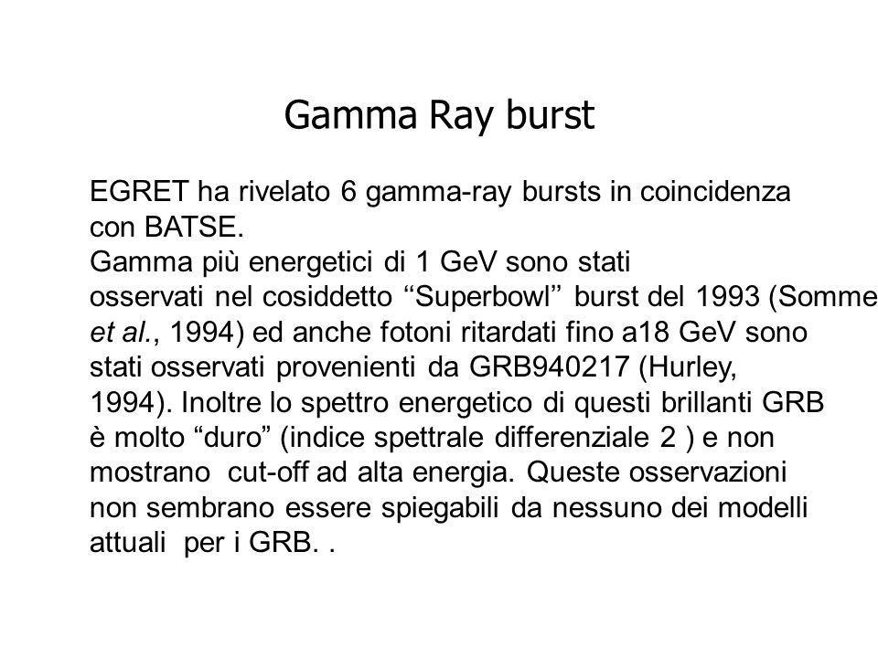 Gamma Ray burst EGRET ha rivelato 6 gamma-ray bursts in coincidenza con BATSE.