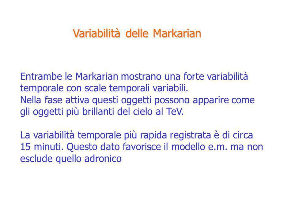 Entrambe le Markarian mostrano una forte variabilità temporale con scale temporali variabili. Nella fase attiva questi oggetti possono apparire come g