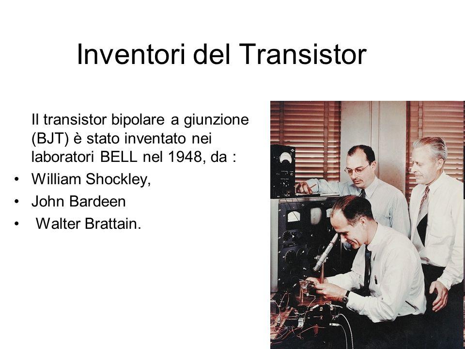 Inventori del Transistor Il transistor bipolare a giunzione (BJT) è stato inventato nei laboratori BELL nel 1948, da : William Shockley, John Bardeen
