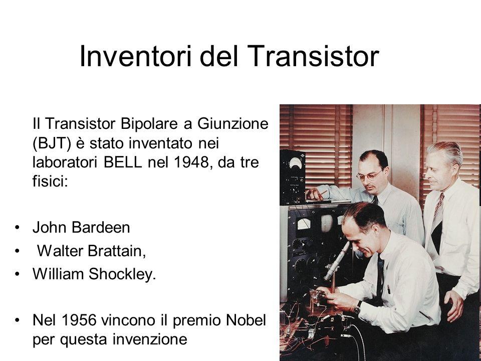 Inventori del Transistor Il Transistor Bipolare a Giunzione (BJT) è stato inventato nei laboratori BELL nel 1948, da tre fisici: John Bardeen Walter B