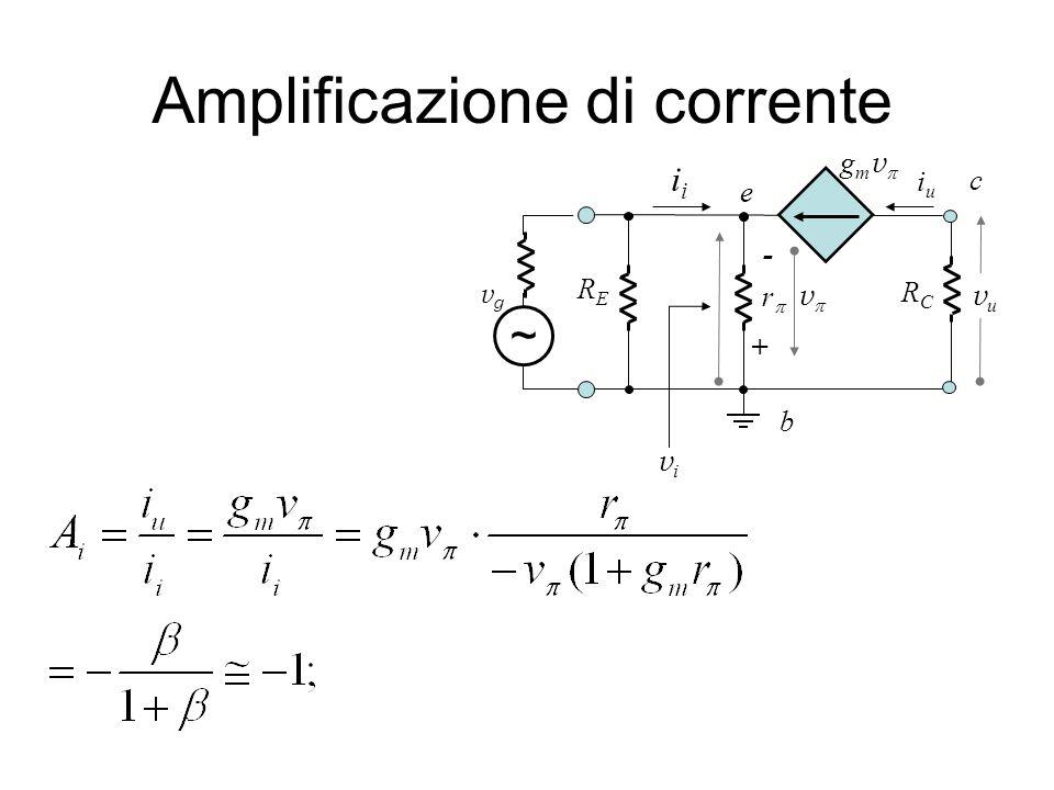 Amplificazione di corrente vuvu b e c RCRC i vgvg ~ r vivi iuiu - RERE + v g m v