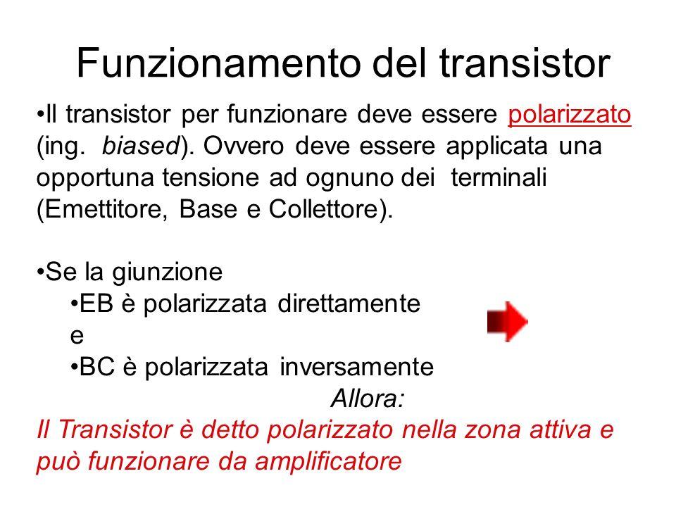 Funzionamento del transistor Il transistor per funzionare deve essere polarizzato (ing. biased). Ovvero deve essere applicata una opportuna tensione a