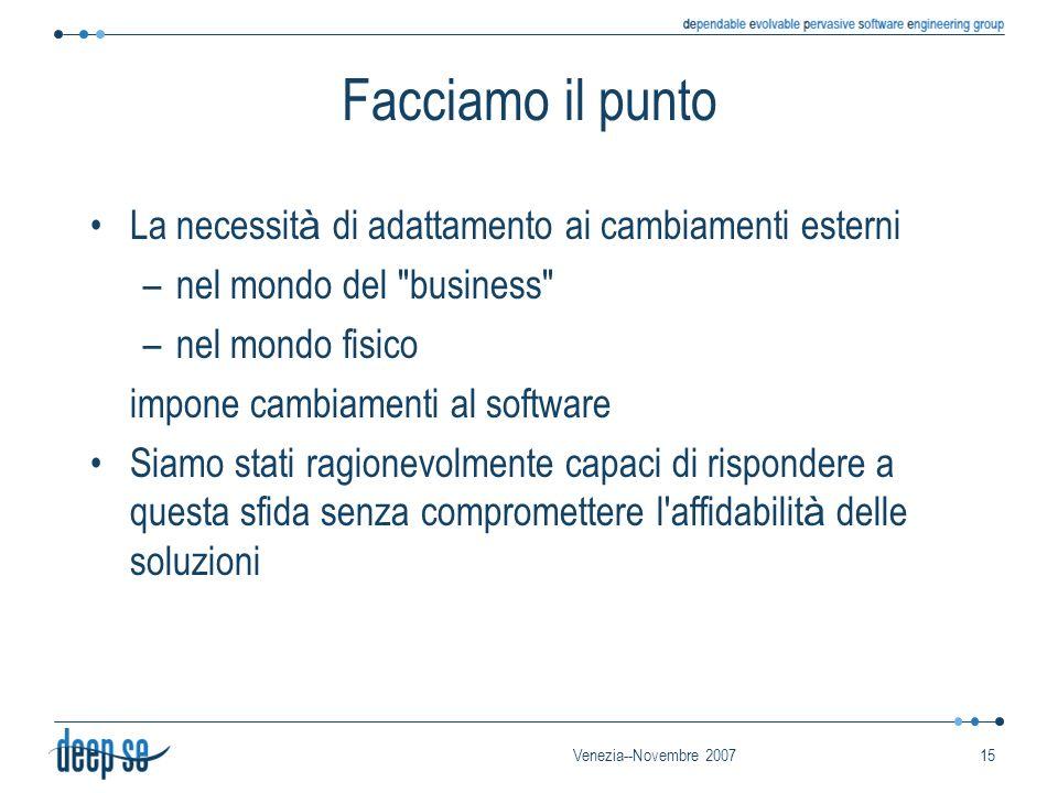 Venezia--Novembre 200715 Facciamo il punto La necessit à di adattamento ai cambiamenti esterni –nel mondo del business –nel mondo fisico impone cambiamenti al software Siamo stati ragionevolmente capaci di rispondere a questa sfida senza compromettere l affidabilit à delle soluzioni