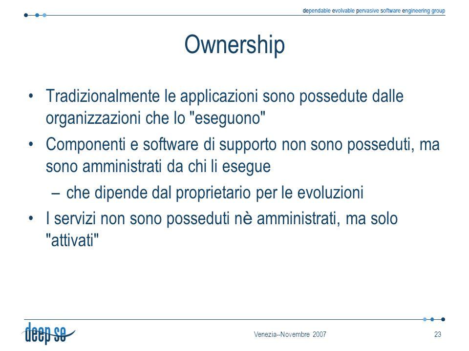 Venezia--Novembre 200723 Ownership Tradizionalmente le applicazioni sono possedute dalle organizzazioni che lo eseguono Componenti e software di supporto non sono posseduti, ma sono amministrati da chi li esegue –che dipende dal proprietario per le evoluzioni I servizi non sono posseduti n è amministrati, ma solo attivati