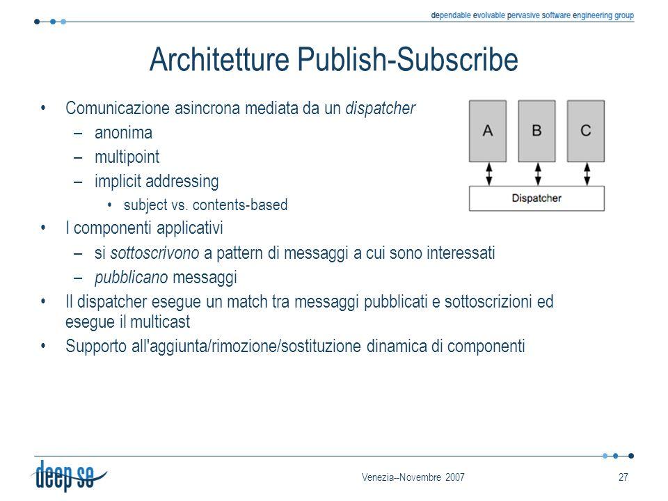Venezia--Novembre 200727 Architetture Publish-Subscribe Comunicazione asincrona mediata da un dispatcher –anonima –multipoint –implicit addressing sub