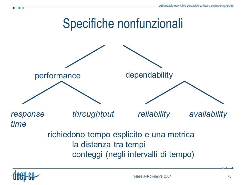 Venezia--Novembre 200743 Specifiche nonfunzionali performance dependability response time throughtputreliabilityavailability richiedono tempo esplicito e una metrica la distanza tra tempi conteggi (negli intervalli di tempo)