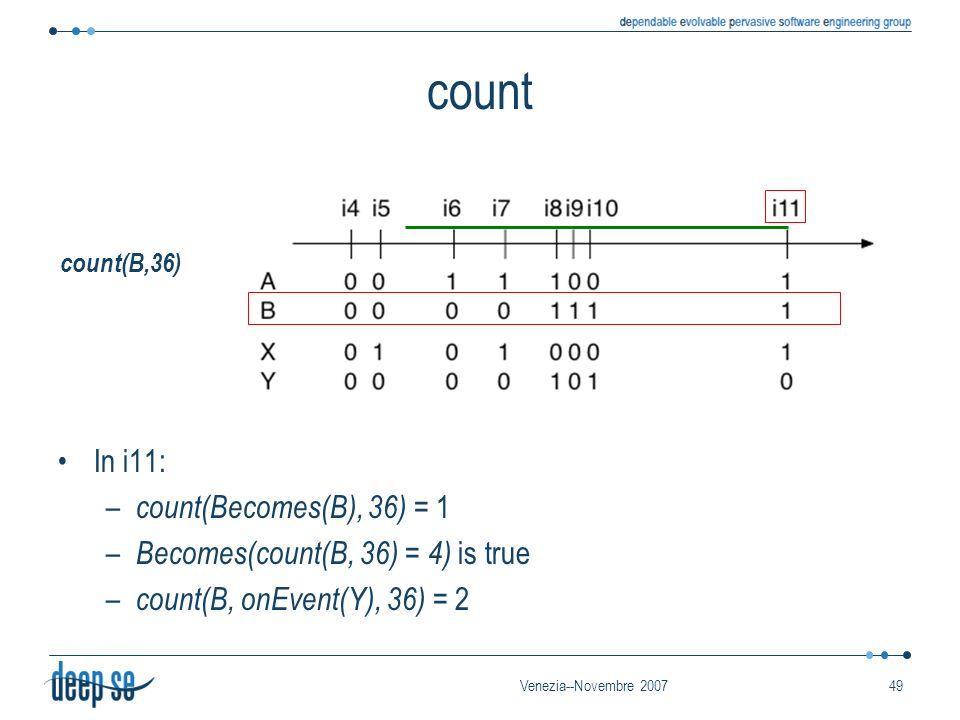 Venezia--Novembre 200749 count In i11: – count(Becomes(B), 36) = 1 – Becomes(count(B, 36) = 4) is true – count(B, onEvent(Y), 36) = 2 count(B,36)