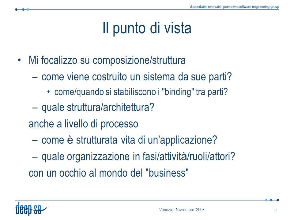 Venezia--Novembre 20075 Il punto di vista Mi focalizzo su composizione/struttura –come viene costruito un sistema da sue parti.