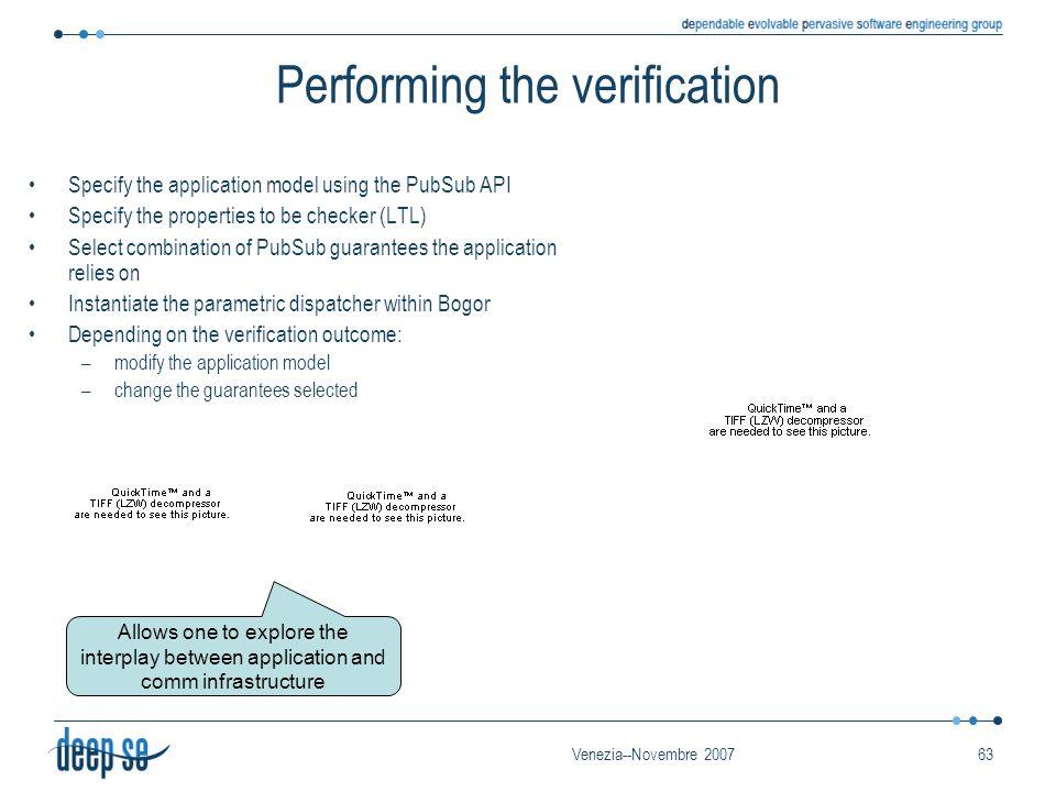 Venezia--Novembre 200763 Performing the verification Specify the application model using the PubSub API Specify the properties to be checker (LTL) Sel