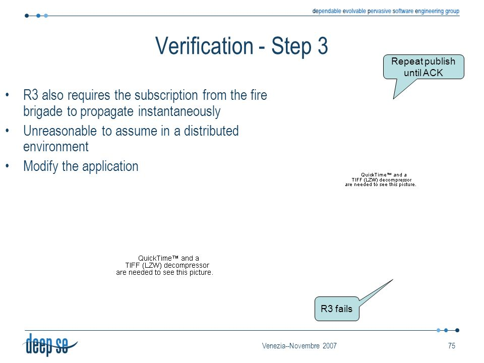 Venezia--Novembre 200775 Verification - Step 3 R3 also requires the subscription from the fire brigade to propagate instantaneously Unreasonable to assume in a distributed environment Modify the application R3 fails Repeat publish until ACK