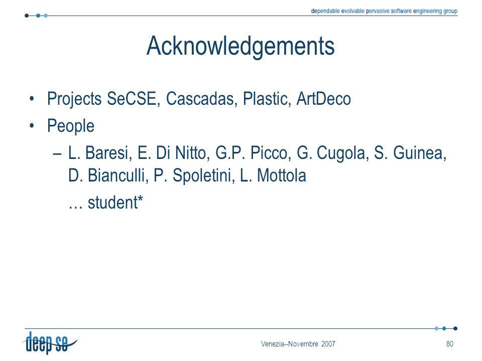 Venezia--Novembre 200780 Acknowledgements Projects SeCSE, Cascadas, Plastic, ArtDeco People –L. Baresi, E. Di Nitto, G.P. Picco, G. Cugola, S. Guinea,