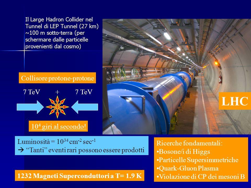 Il Large Hadron Collider nel Tunnel di LEP Tunnel (27 km) ~100 m sotto-terra (per schermare dalle particelle provenienti dal cosmo) Collisore protone-