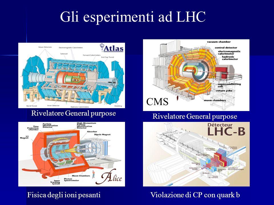 CMS Violazione di CP con quark bFisica degli ioni pesanti Rivelatore General purpose Gli esperimenti ad LHC Rivelatore General purpose