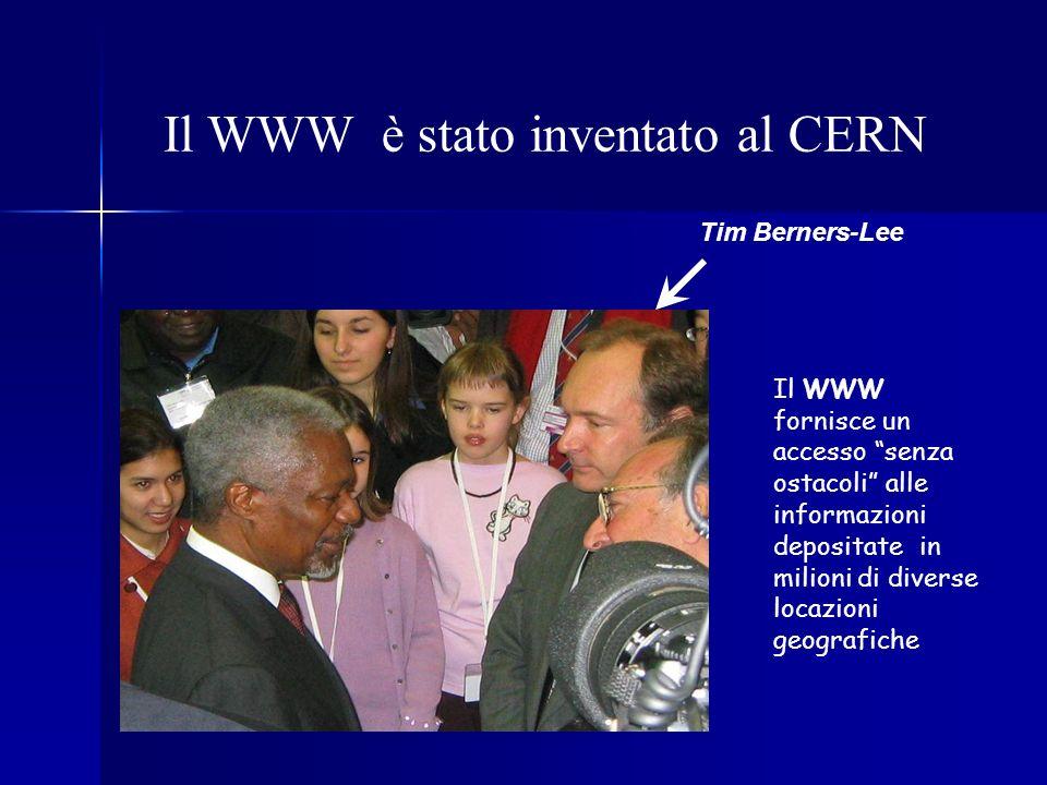 Il WWW è stato inventato al CERN Tim Berners-Lee Il WWW fornisce un accesso senza ostacoli alle informazioni depositate in milioni di diverse locazion