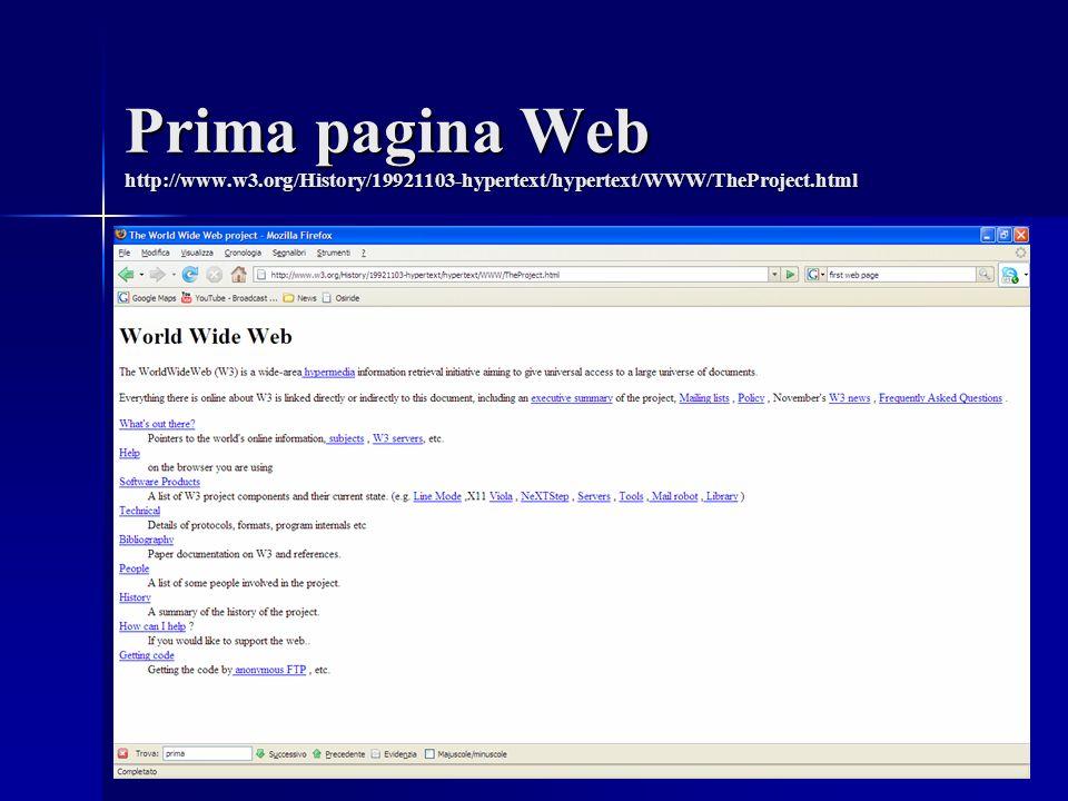 Prima pagina Web http://www.w3.org/History/19921103-hypertext/hypertext/WWW/TheProject.html