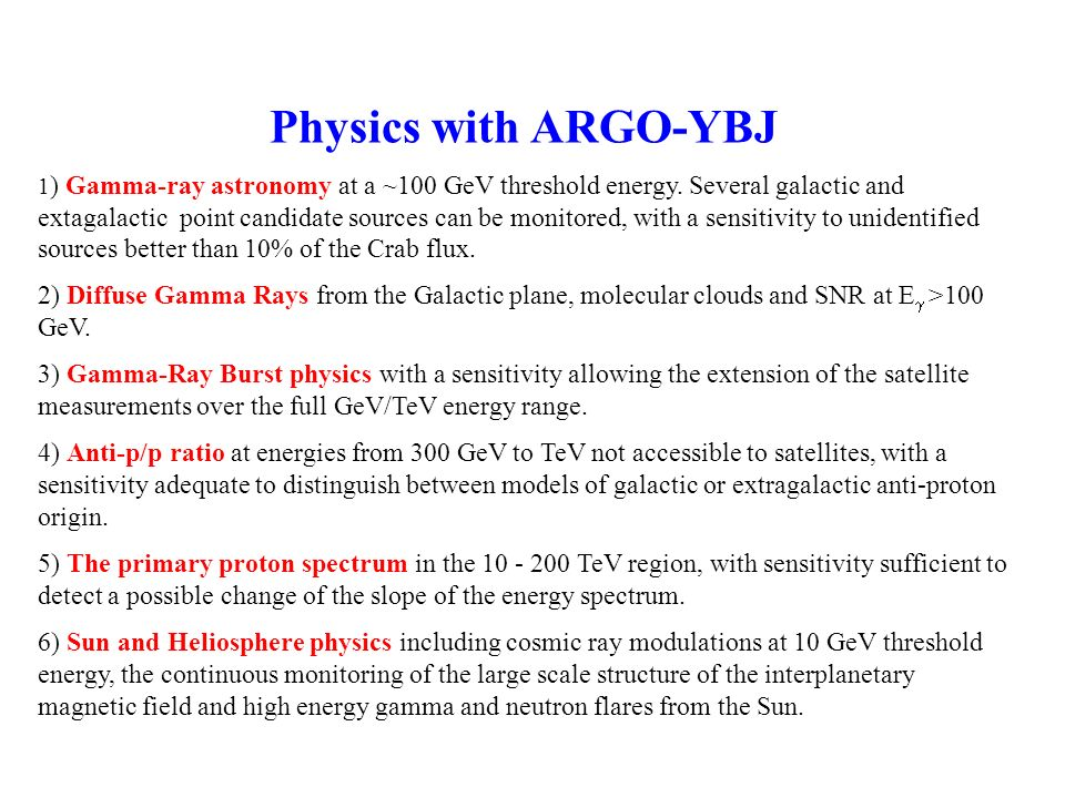 Physics with ARGO-YBJ 1 ) Gamma-ray astronomy at a ~100 GeV threshold energy. Several galactic and extagalactic point candidate sources can be monitor