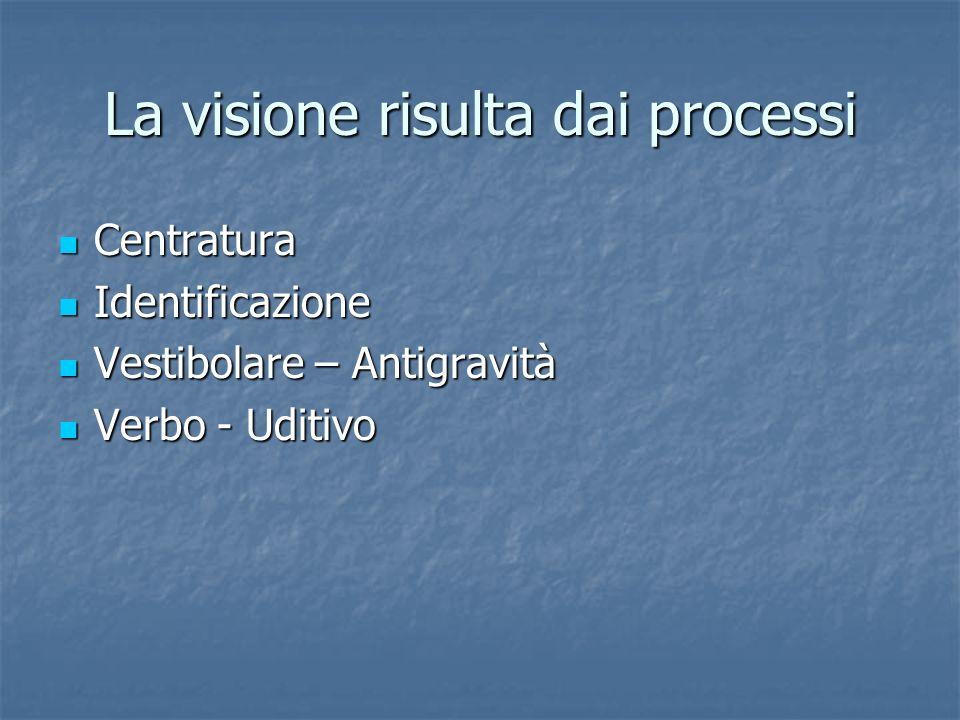 La visione risulta dai processi Centratura Centratura Identificazione Identificazione Vestibolare – Antigravità Vestibolare – Antigravità Verbo - Udit
