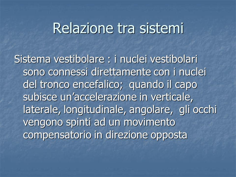 Relazione tra sistemi Sistema vestibolare : i nuclei vestibolari sono connessi direttamente con i nuclei del tronco encefalico; quando il capo subisce