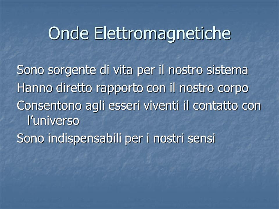 Onde Elettromagnetiche Sono sorgente di vita per il nostro sistema Hanno diretto rapporto con il nostro corpo Consentono agli esseri viventi il contat