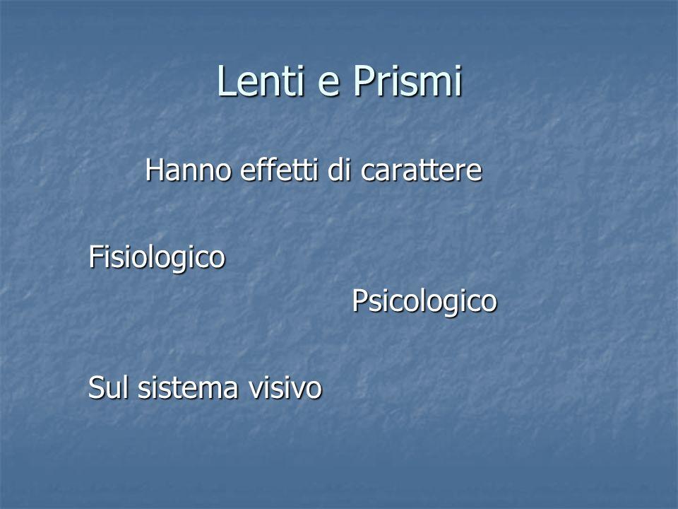 Lenti e Prismi Hanno effetti di carattere Hanno effetti di carattere Fisiologico Fisiologico Psicologico Psicologico Sul sistema visivo Sul sistema vi