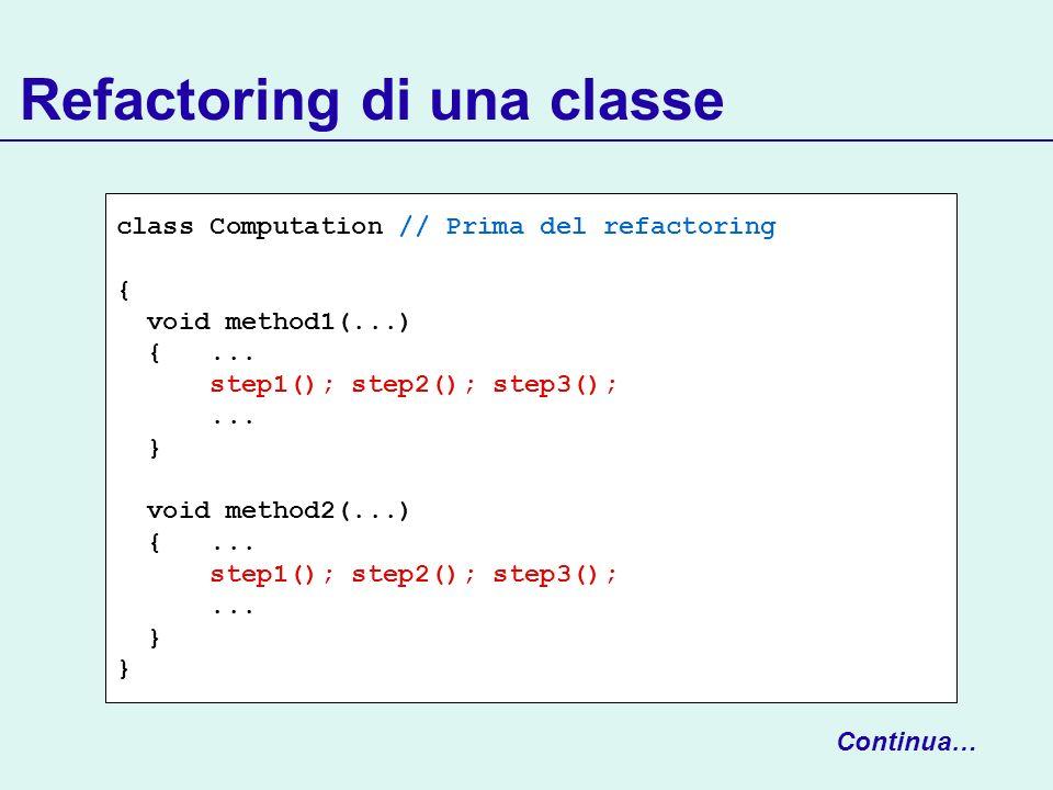 Refactoring di una classe class Computation // Prima del refactoring { void method1(...) {...