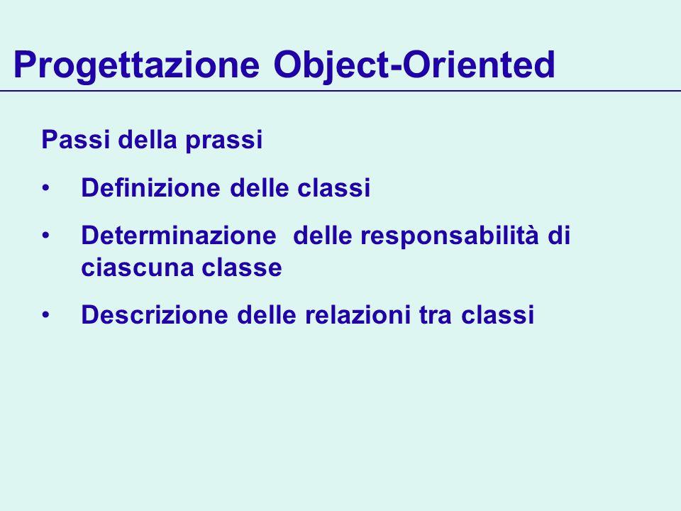 Progettazione Object-Oriented Passi della prassi Definizione delle classi Determinazione delle responsabilità di ciascuna classe Descrizione delle relazioni tra classi