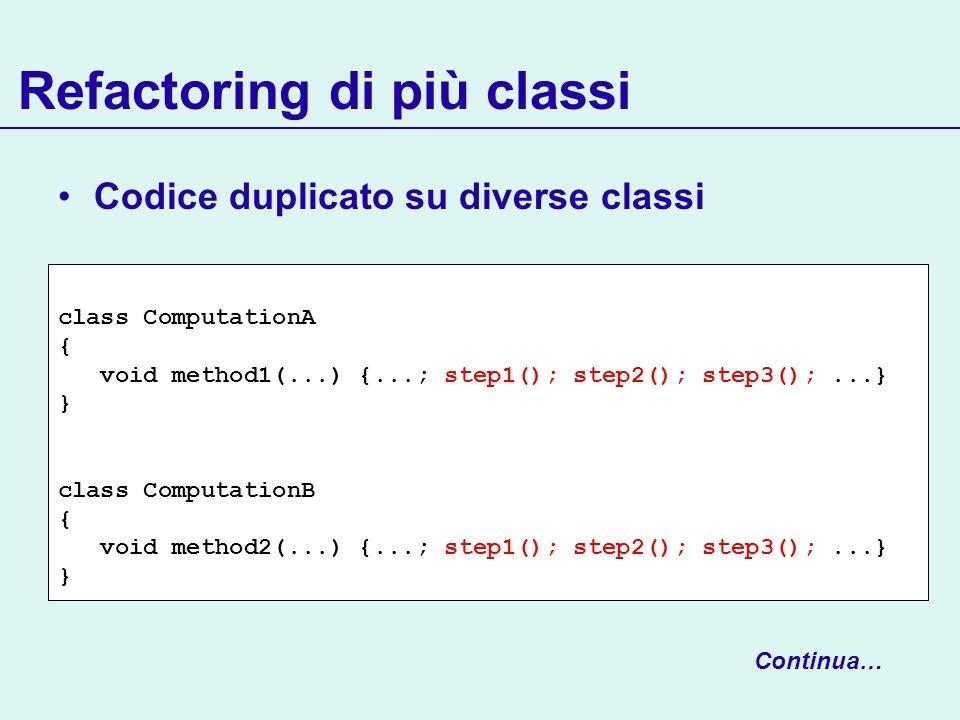 Refactoring di più classi class ComputationA { void method1(...) {...; step1(); step2(); step3();...} } class ComputationB { void method2(...) {...; step1(); step2(); step3();...} } Codice duplicato su diverse classi Continua…