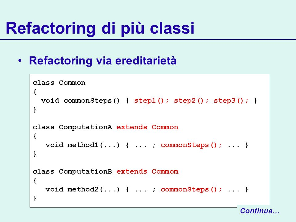 Refactoring di più classi Refactoring via ereditarietà class Common { void commonSteps() { step1(); step2(); step3(); } } class ComputationA extends C