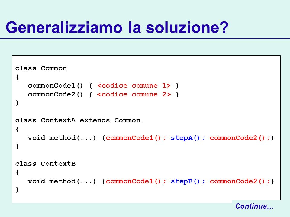 Generalizziamo la soluzione? class Common { commonCode1() { } commonCode2() { } } class ContextA extends Common { void method(...) {commonCode1(); ste